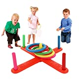 Putars Cute Hoop Ring Toss Plastic Ring Toss Quoits Garden Game Pool Toy Outdoor Fun Set