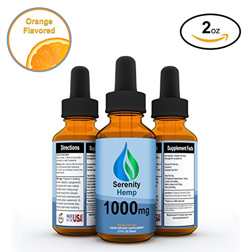 Serenity Hemp Oil - Orange Flavor - 2 fl oz 1000 mg - Certified Organic - 99.9% Pure Full Spectrum Hemp Extract - For Pain - Stress - Anxiety