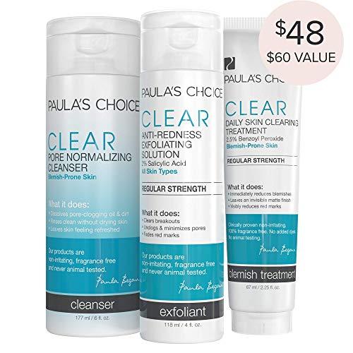 (Paula's Choice-CLEAR Regular Strength Acne Kit-2% Salicylic Acid & 2.5% Benzoyl Peroxide Acne Treatment Skincare Kit with Face Wash, Blemish Treatment, and Exfoliator)