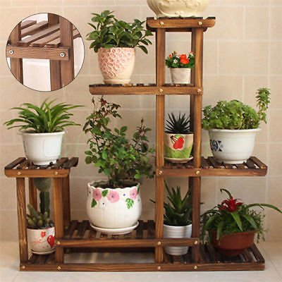 Charmant Garden Wooden Plant Stand Pot Planter Holder Rack 5 Tier Display Shelves  Outdoor