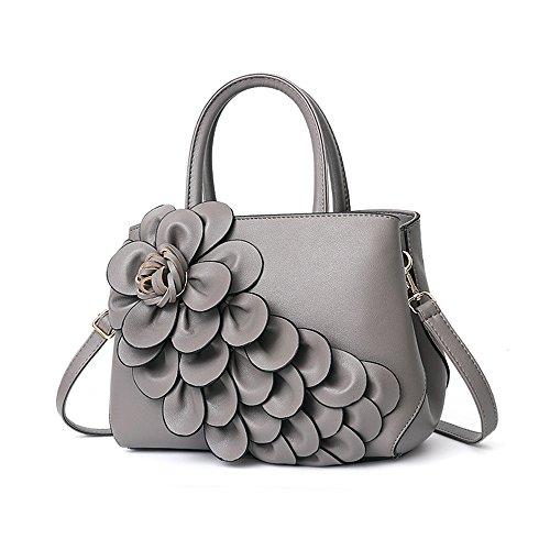 GWQGZ Bolso Ladies Flower, Nuevo Bolso, Bolso, Gris Gray