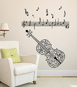kuamai Notas De La Música Eléctrica De La Guitarra Acordes Calcomanías De Pared De Roca para La Decoración del Hogar del Dormitorio del Niño Pelar Y Pegar: ...