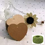 Lwestine 300PCS Heart Kraft Paper Gift Tags Wedding Party Favours, With 164 Feet Natural Jute Twine
