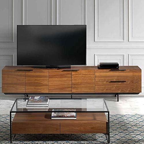 Mueble de TV Contemporáneo Color Nogal y Metal Negro Artemis: Amazon.es: Hogar