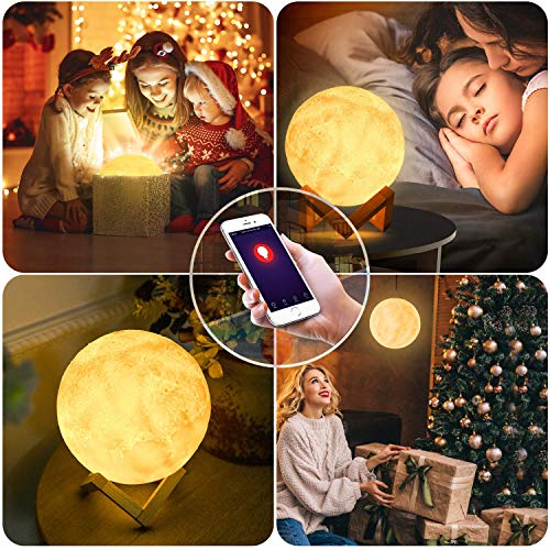 BRTLX Smart Moon Lamp, Compatible with Amazon Alexa and Google Assistant,WiFi Control,3D Printed Lunar Moon Light with Warm & Cool Colors,PLA Material, USB Recharge for Kids/Family/Friends(5.9 Inches)