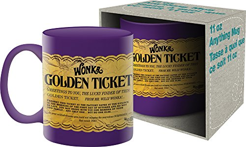 Aquarius Willy Wonka Golden Ticket 11 oz Boxed Ceramic Mug (Real Willy Wonka And The Chocolate Factory)