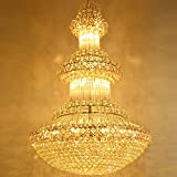 Wenrun Lighting Living Room Hotel Villa LED K9 Crystal Golden Large Chandelier Ceiling Lamps Hanging Lamp Chandelier Fixture Lamps Light With LED Bulb (D200cm x H300cm)
