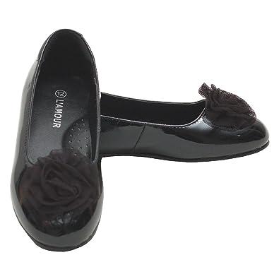 fc87a0fb4866c L'Amour Girls Black Flower Slip On Dress Shoes Toddler 5-Little Girl 4
