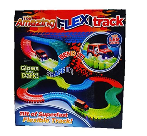 Flexi Glow In The Dark Flexible Car Track LED Car 165pcTrack With Stickers flexi track