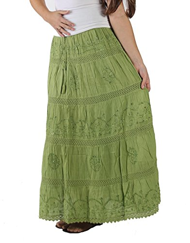KayJayStyles Full Length Womens Solid Embroidered Gypsy Bohemian Long Cotton Skirt (Lime) Photo #5