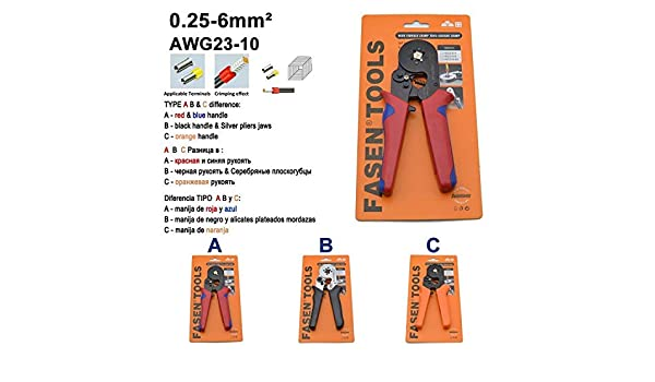 6-4 6-6 0.25-6mm 23-10AWG & 10S 0.25-10mm 23-7AWG Crimp Pliers Tube Bootlace Terminals Crimping Hand Tools Wire Connector HSC8, C Orange, 6-4 - - Amazon.com