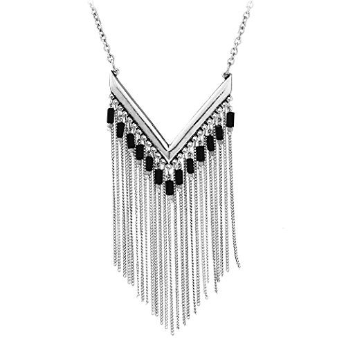 Antique Gold Silver Plated Single V Shaped Resin Beads Long Chain Tassel Pendant Necklace (Antique Womens Beads)