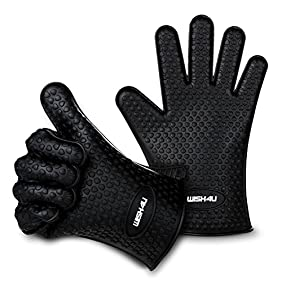 WISH4U Black Silicone BBQ /Cooking Gloves- Internal finger thicken heat resistant layer Oven Mitts for Grilling,BBQ, Kitchen - Safe Handling of Pots and Pans- Cooking & Baking Non-Slip Potholders