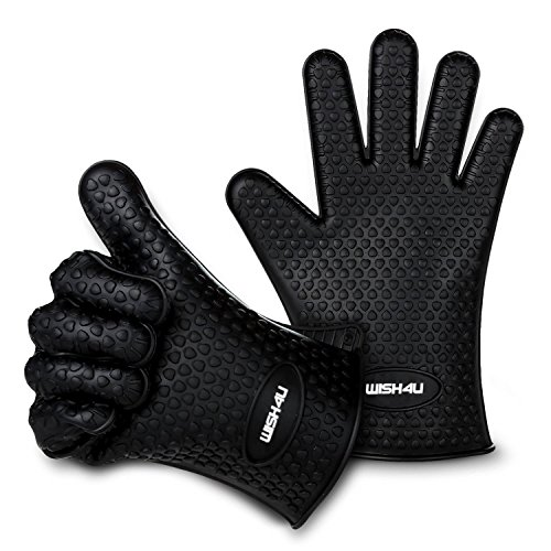 WISH4U Black Silicone BBQ /Cooking Gloves- Internal finger thicken heat resistant layer Oven Mitts for Grilling,BBQ, Kitchen – Safe Handling of Pots and Pans– Cooking & Baking Non-Slip Potholders by WISH4U