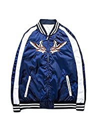 LETSQK Men's Classic MA-1 Air Force Eagle Embroidery Baseball Bomber Jacket