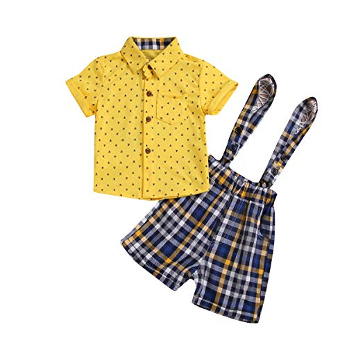 MLCHNCO Baby Gentleman Outfit for Toddler Boy Short-Sleeve Shirt + Overalls Striped 2Pcs Set (Yellow, ♛Size:95♛ - Yellow Overalls Boys