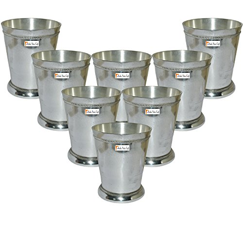 """Set of 8 - Prisha India Craft ® Beaded Silver Mint Julep Cup - 10 oz Beaded 4"""" Tall - Made of brass, nickel plated - CHRISTMAS GIFT ITEM"""