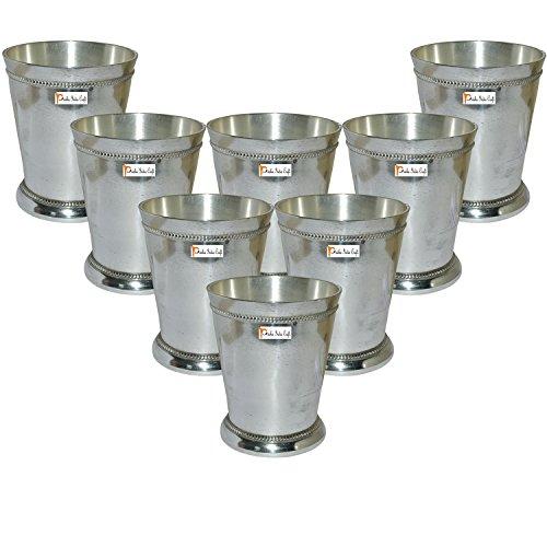 Beaded Glass Tumbler - Prisha India Craft Brass Silver Glass Tumbler, Beaded Mint Julep Design, Capacity 250 ML, Set of 8