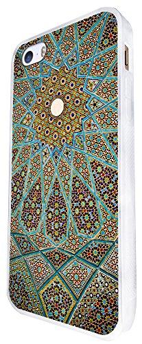 1397 - Cool Fun Trendy Cute Kawaii Space Hypnotise Kaleidoscope Colourful Peace Art Swirl Stain Glass Design iphone SE - 2016 Coque Fashion Trend Case Coque Protection Cover plastique et métal - Blanc