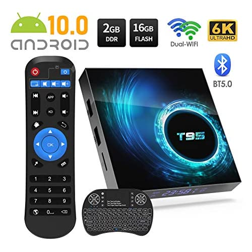 chollos oferta descuentos barato Sidiwen Android 10 0 TV Box T95 Android Box 2GB RAM 16 ROM Allwinner H616 Quad Core Dual WiFi 2 4G 5G Ethernet Bluetooth 5 Support 3D 6K Ultra HD Smart TV Media Box with Mini Wireless Keyboard