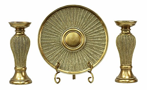 (D'Lusso Designs Home Decor Accent Arlisa Collection 4 Piece Set - Charger Plate, Stand and 2 Candlesticks)