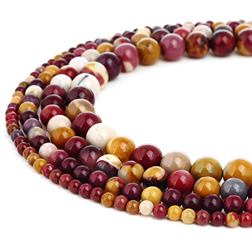 RUBYCA Wholesale Natural Mookaite Jasper Gemstone Round Loose Beads Jewelry Making 1 Strand - 4mm ()