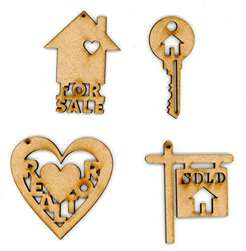 Realtor Ornament Gifts - Set of 4 - Wooden Decorative Ornaments- By EP Laser