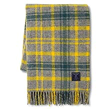 Faribault Woolen Mill Company Plaid Wool Throw - Heather Grey/Yellow