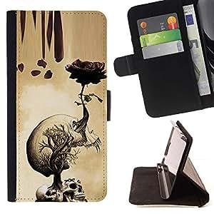 Momo Phone Case / Flip Funda de Cuero Case Cover - Rose Cráneo Metal Rock Rollo Muerte Beige - Sony Xperia Z5 Compact Z5 Mini (Not for Normal Z5)