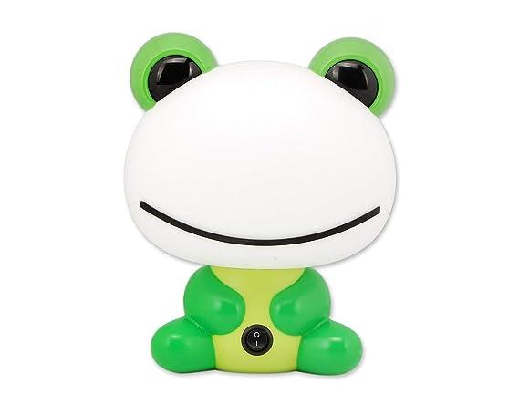 DSstyles Luz de noche Cute Cartoon Green Frog Lámpara de mesa de luz LED lámpara de escritorio para bebés niños niños con cálida luz blanca ...