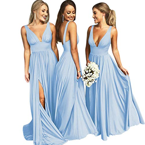 Bridesmaid Dress Long V Neck Backless Split Prom Dress Evening Gowns for Women 2019 Sky Blue Size4