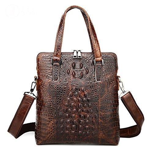 Handbag Pattern Tote Crocodile (Men's Leather Briefcase Crocodile Pattern Tote Shoulder Crossbody Bag)