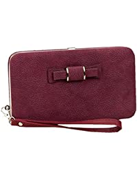 Ladies Phone Wallet Case Bowknot Leather Clutch Wallet With Wristlet for Credit Cards Cellphone Cover for iPhone X/ 8/ 8 Plus Galaxy S8 S7