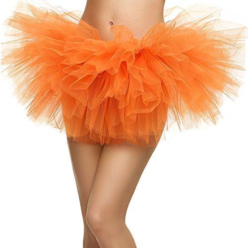 KEA KEA Women's Adult 5 Layered Tulle Tutu Mini Skirt, Orange ()