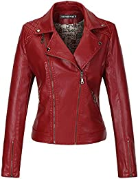 Amazon.com: Red - Leather &amp Faux Leather / Coats Jackets &amp Vests
