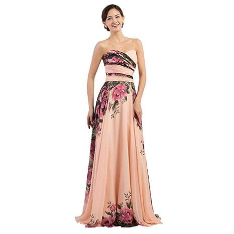 Vestido De Fiesta Elegante Estampado Floral Para La Noche