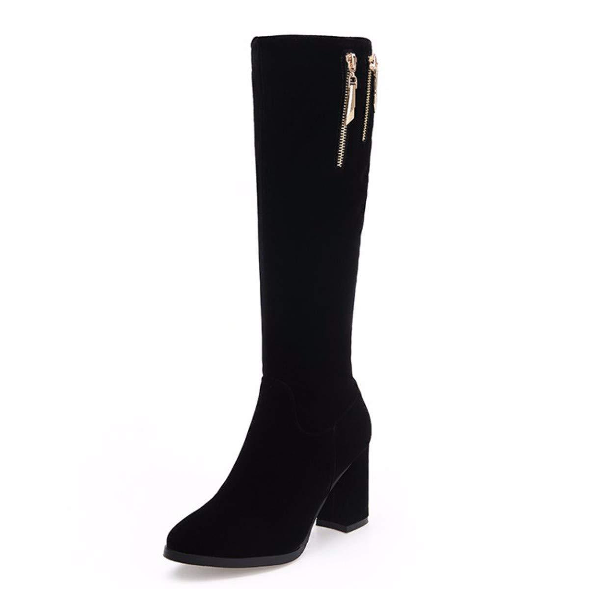 KPHY Damenschuhe Grob Hacken Stiefel Heel 8Cm Winter Seite Reißverschluss Reißverschluss Reißverschluss Schleifen Hohe Stiefel 9da02e