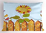 Lunarable Vineyard Pillow Sham, Sunflowers Behind The Wood Fences and Birds in Air Spring Daisy Blooms Graphic, Decorative Standard Size Printed Pillowcase, 26 X 20 inches, Multicolor