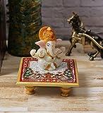 eCraftIndia Lord Ganesha with Crown on Marble Chowki (LxWxH - 4INx4INx4IN)