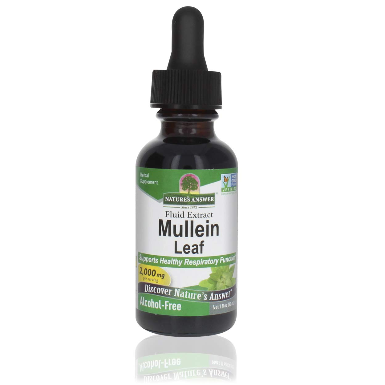 Nature's Answer Mullein Leaf | Herbal Supplement | Supports Healthy Respiratory Function & Healthy Mucous Membranes | Non-GMO & Kosher | Gluten-Free & Alcohol-Free 1oz (2 Pack)
