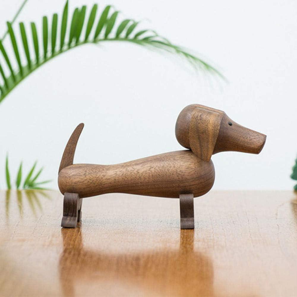 LJXLXY Dachshund Dog sólido Madera de Nogal Negro Oficina Adornos Mesa cafetería Tienda decoración niños Regalo Sorpresa Juguete nórdico