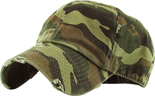KBETHOS Vintage Washed Distressed Cotton Dad Hat Baseball Cap Adjustable Polo Trucker Unisex Style Headwear (Vintage) Camo Adjustable (Cap Camoflauge Adjustable)