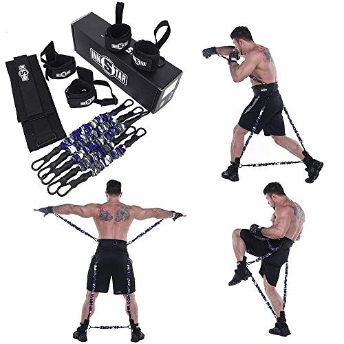 (Ranbo Improve Workout Efficiency Body Resistance Bands/Stretching Strap Set,Exercises Leg and arm,for Boxing,MMA,Home Gym, Muay Thai,Sanda,Bouncing Strength Training Equipment,Enhance Explosive Power)