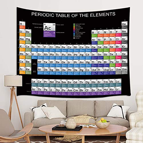 JAWO Periodic Table of The Elements Tapestry, School Student Family Black Background Tapestries Wall Hanging, Wall Tapestry for Dorm Living Room Bedroom, Wall Blanket Wall Decor Art Home Decoration