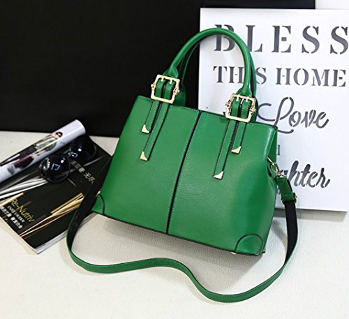 QUBABOBO Leather Women Ladies Top Shoulder for Handle Handbags PU Bags Handbag Fashion Green UUqRAn4r