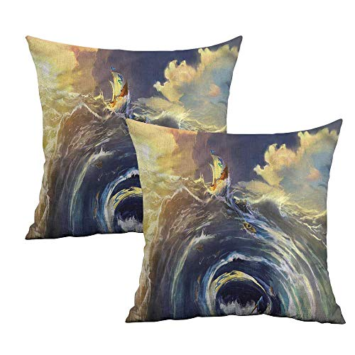 (Khaki home Nautical Square Kids Pillowcase Ship Whirlpool Maelstrom Square Standard Pillowcase Cushion Cases Pillowcases for Sofa Bedroom Car W 18