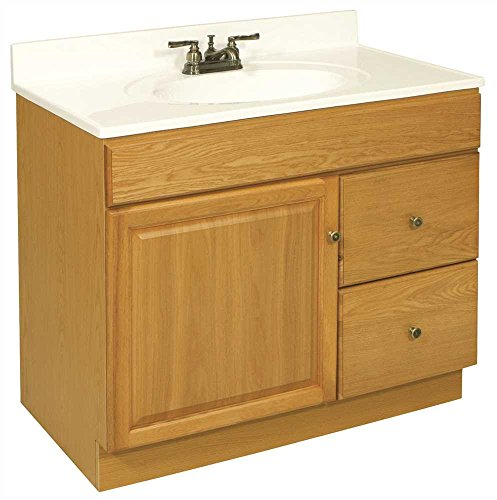 DESIGN HOUSE 103510 Claremont Bathroom Vanity Cabinet, Ready to Assemble, 1 Door, 2 Drawer, Honey Oak, 36 x 31-1/2 x 21-1/2'' by Design House (Image #1)
