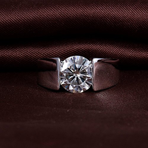 DovEggs Platinum Plated Silver 3ct 9mm G-H-I Color Heart Arrows Cut Moissanite Engagement Ring for Men and Women(9)