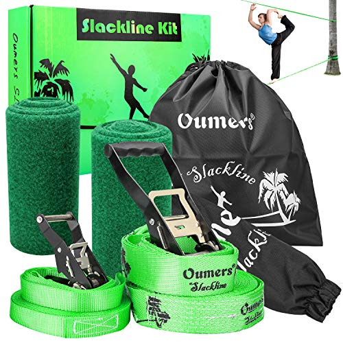 Oumers Beginner Slackline Kit, Complete Slack Line Gift Set with 50ft Main Blance line Training Line Tree Protector Ratchet Cover Carry Bag for Kids Adults, Easy Setup Slacklines Balance Strap