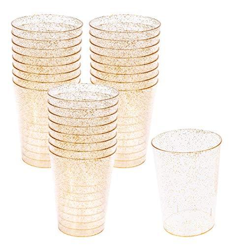 50 Harde Plastic Bekers met Gouden Glitter (300 ml) – Stevig, Duurzaam en Herbruikbaar
